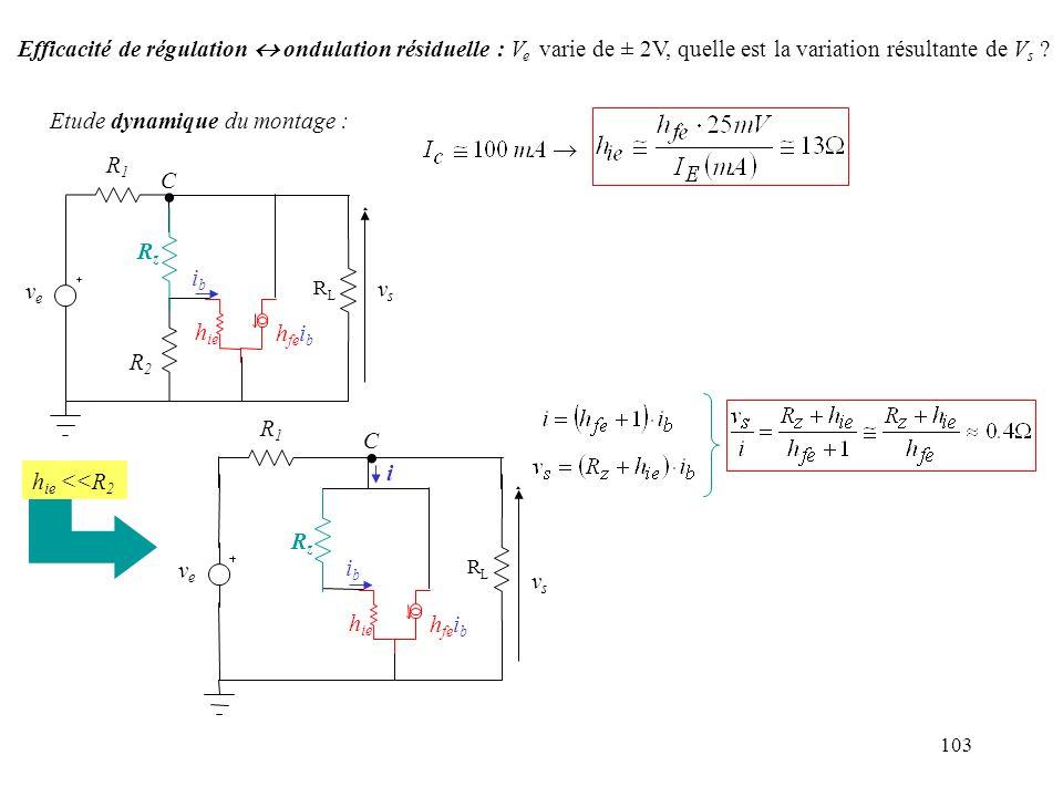 Efficacité de régulation  ondulation résiduelle : Ve varie de ± 2V, quelle est la variation résultante de Vs
