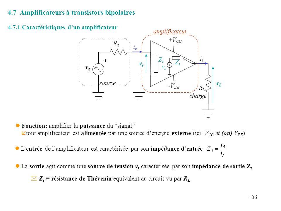 4.7 Amplificateurs à transistors bipolaires