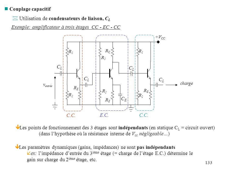 Utilisation de condensateurs de liaison, CL