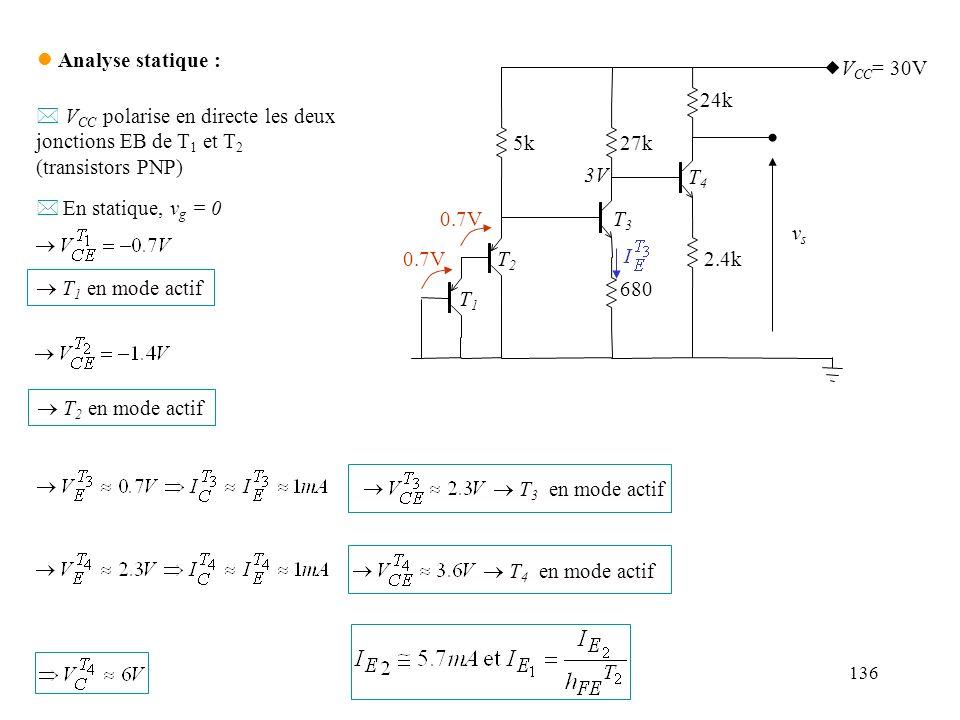 VCC polarise en directe les deux jonctions EB de T1 et T2