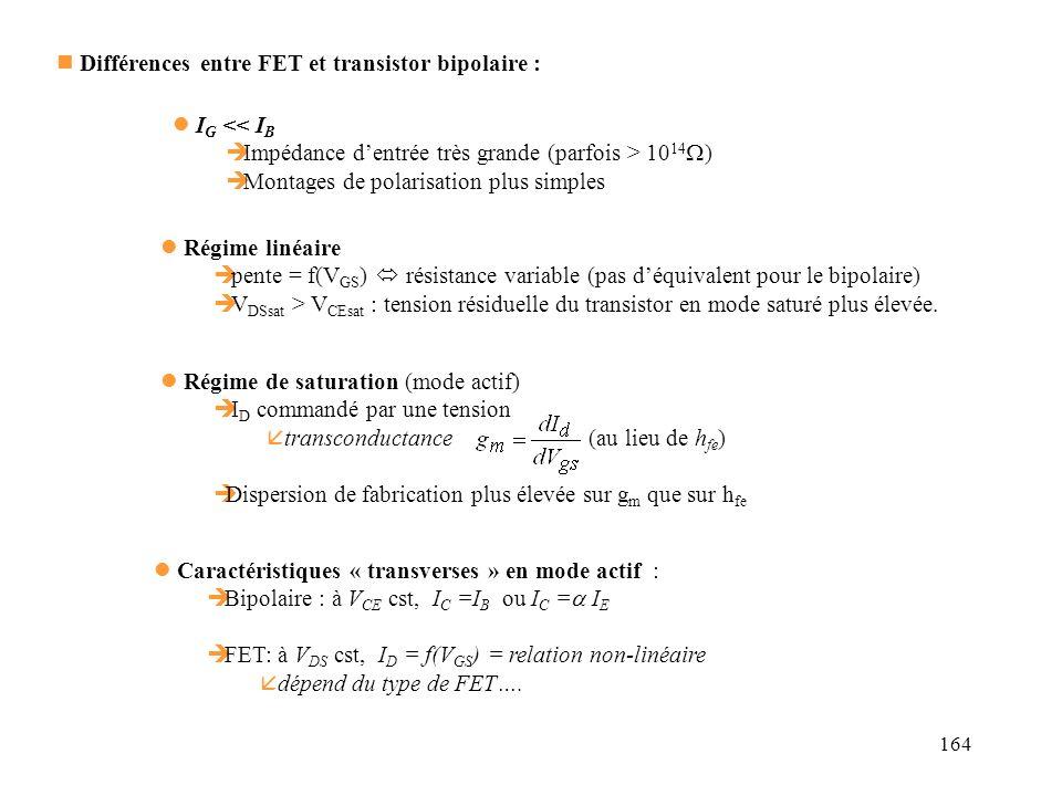 Différences entre FET et transistor bipolaire :