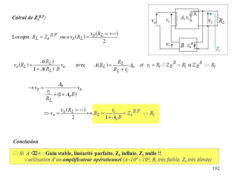 ve vs RL vr B Calcul de ZsB.F: Av.vi vi Zs avec et Conclusion