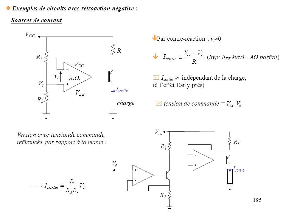 Exemples de circuits avec rétroaction négative :