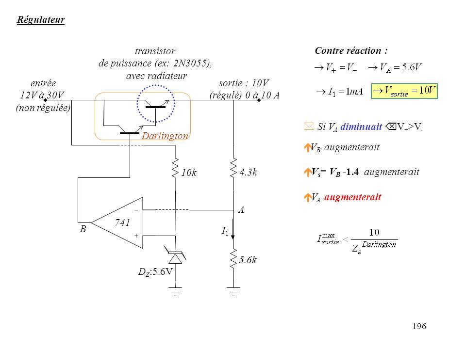 Régulateur entrée. 12V à 30V. (non régulée) DZ:5.6V. 10k. 4.3k. 5.6k. transistor. de puissance (ex: 2N3055),