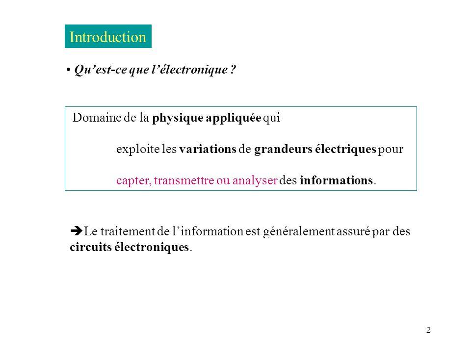 Introduction Qu'est-ce que l'électronique