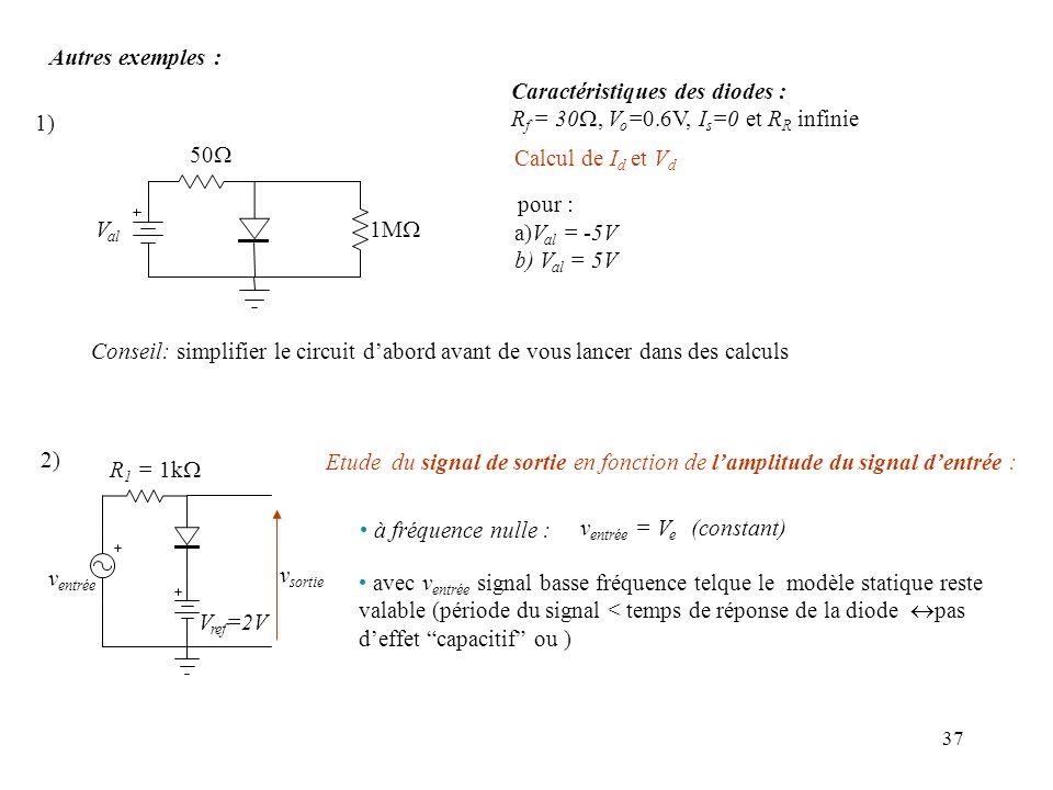 Autres exemples : Caractéristiques des diodes : Rf = 30W, Vo=0.6V, Is=0 et RR infinie. 1) 50W. Calcul de Id et Vd.