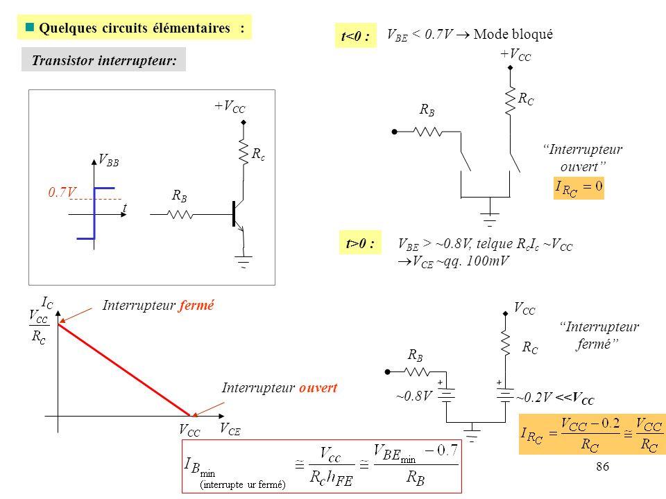 Quelques circuits élémentaires : t<0 : VBE < 0.7V  Mode bloqué
