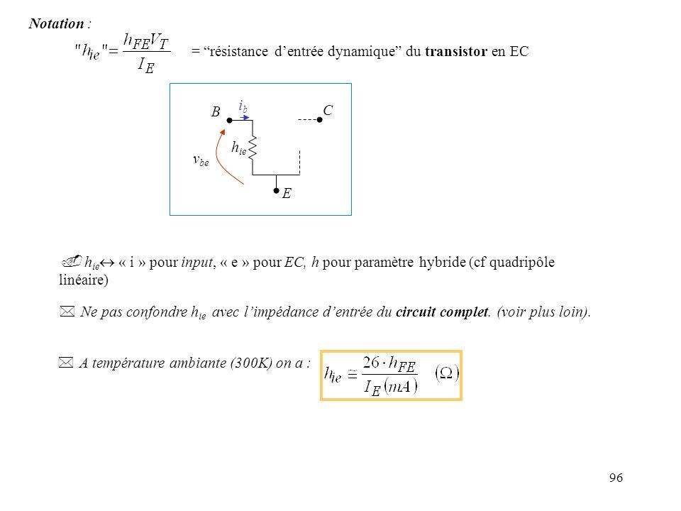 = résistance d'entrée dynamique du transistor en EC