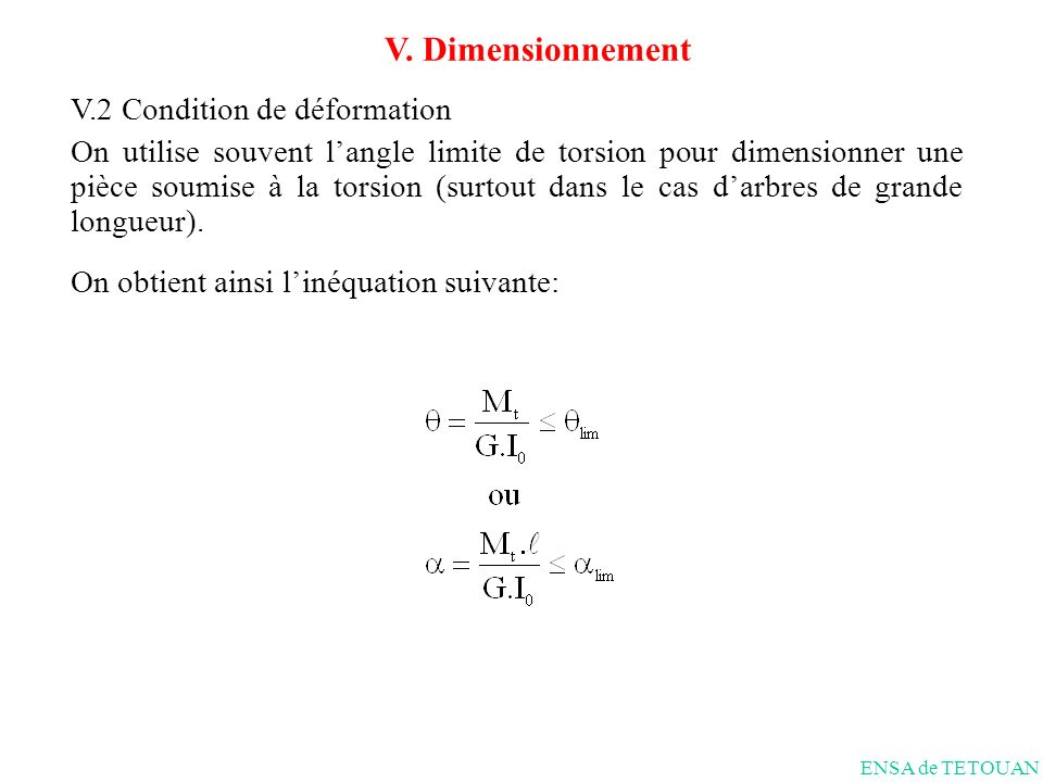V. Dimensionnement V.2 Condition de déformation
