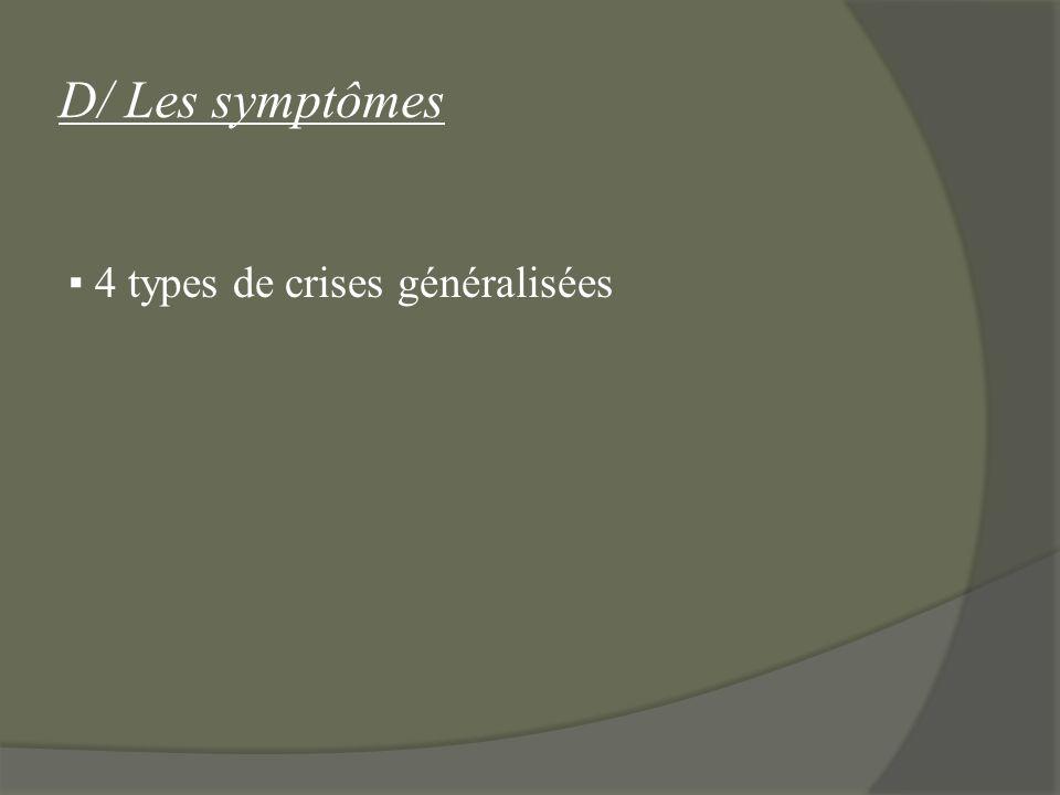 D/ Les symptômes ▪ 4 types de crises généralisées