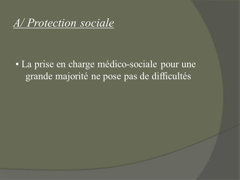 A/ Protection sociale ▪ La prise en charge médico-sociale pour une grande majorité ne pose pas de difficultés.