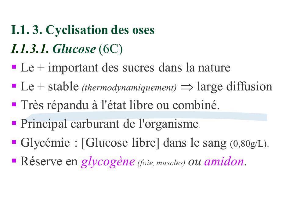 I.1. 3. Cyclisation des oses I.1.3.1. Glucose (6C) Le + important des sucres dans la nature. Le + stable (thermodynamiquement)  large diffusion.