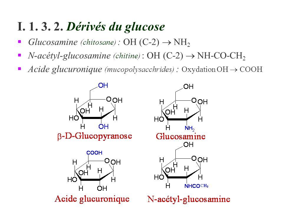 I. 1. 3. 2. Dérivés du glucose Glucosamine (chitosane) : OH (C-2)  NH2. N-acétyl-glucosamine (chitine) : OH (C-2)  NH-CO-CH2.