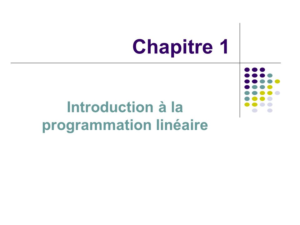 Introduction à la programmation linéaire