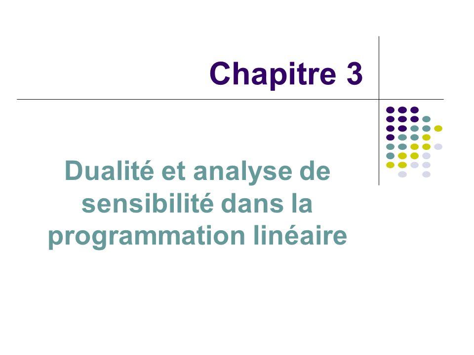Dualité et analyse de sensibilité dans la programmation linéaire