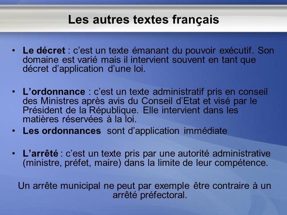 Les autres textes français