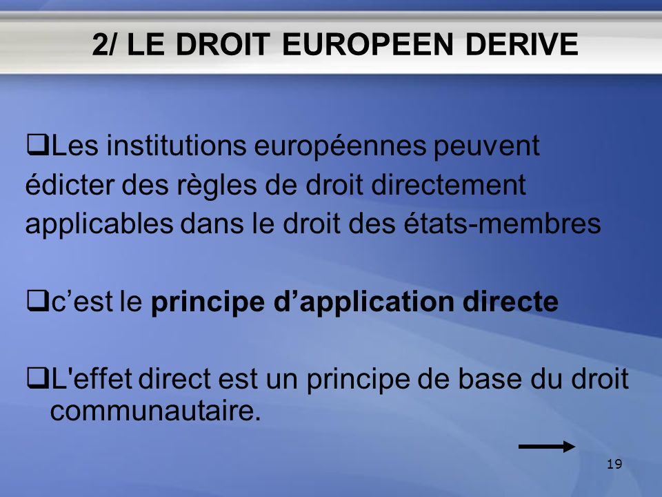 2/ LE DROIT EUROPEEN DERIVE