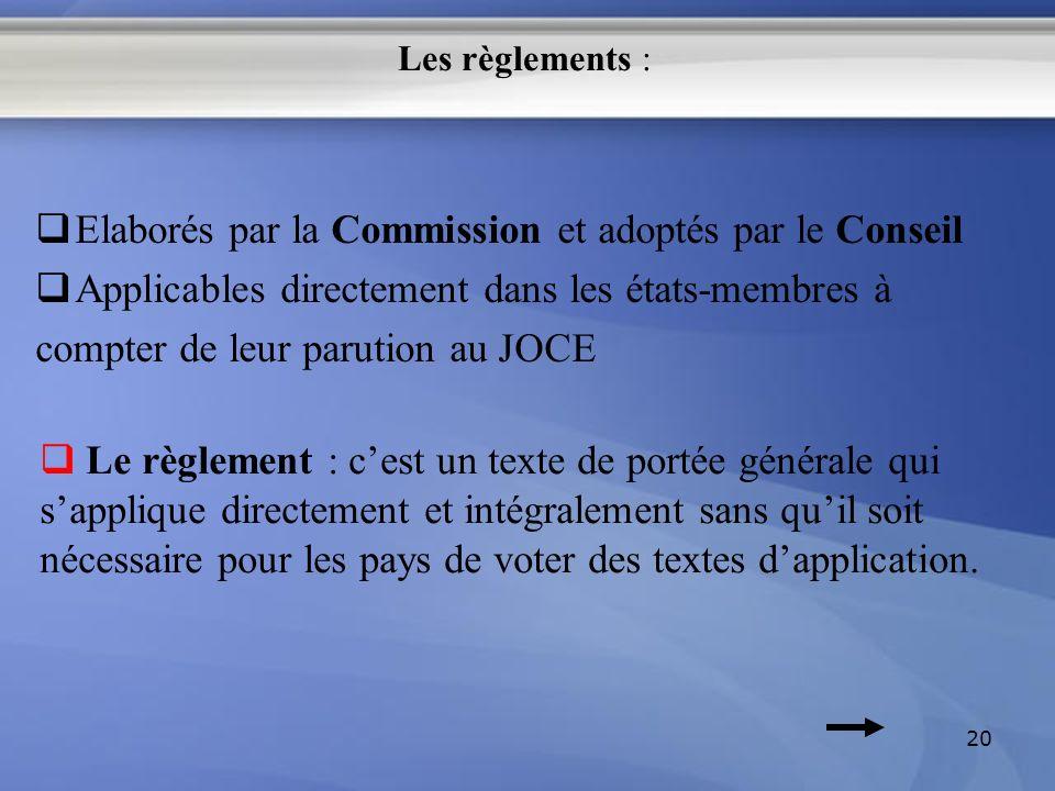 Elaborés par la Commission et adoptés par le Conseil