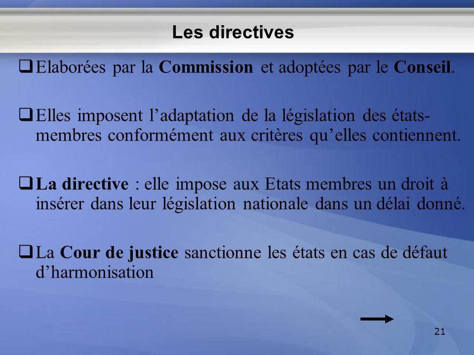 Les directives Elaborées par la Commission et adoptées par le Conseil.
