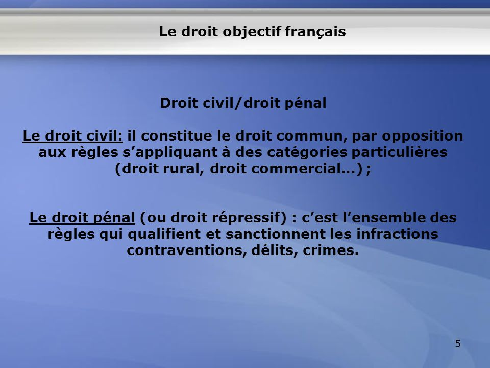 Le droit objectif français Droit civil/droit pénal