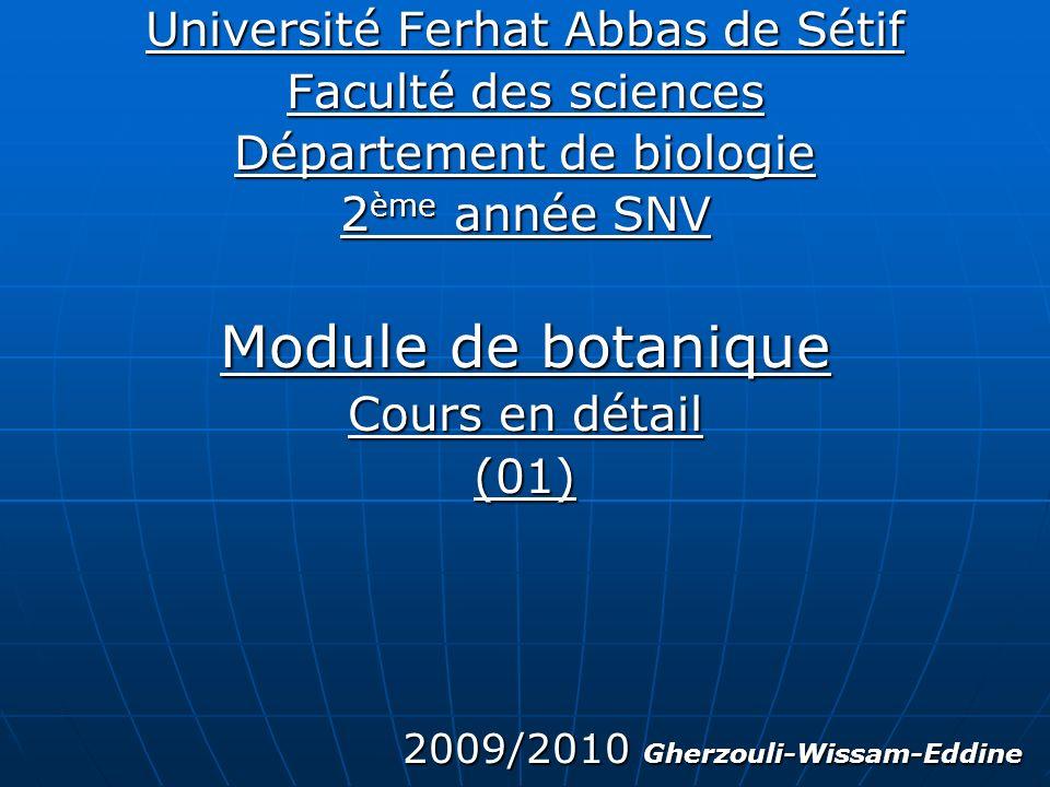 Module de botanique Université Ferhat Abbas de Sétif