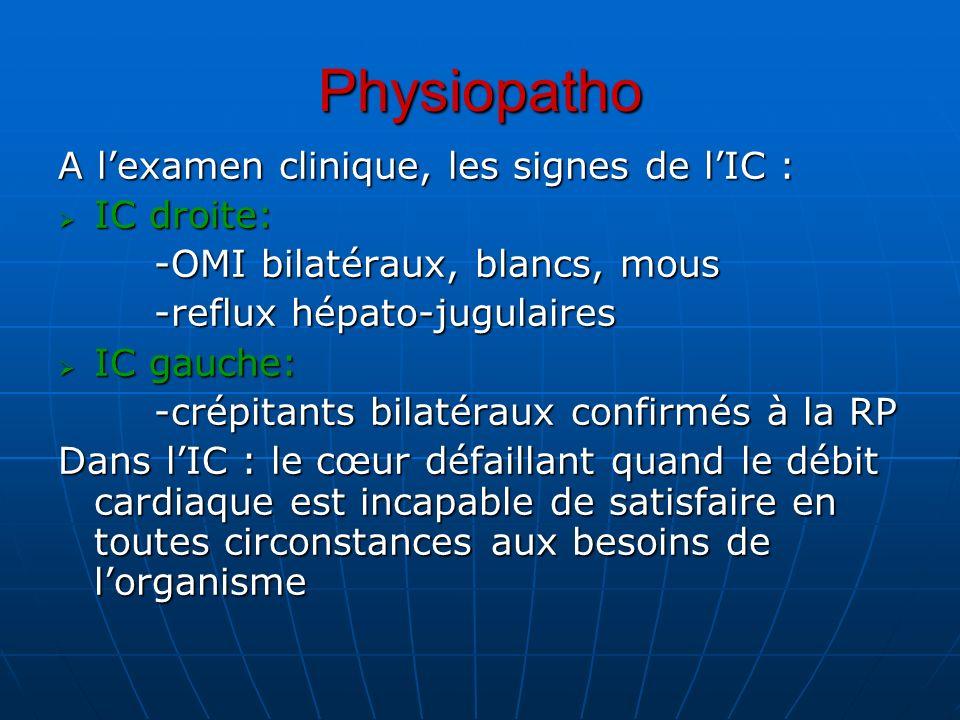 Physiopatho A l'examen clinique, les signes de l'IC : IC droite: