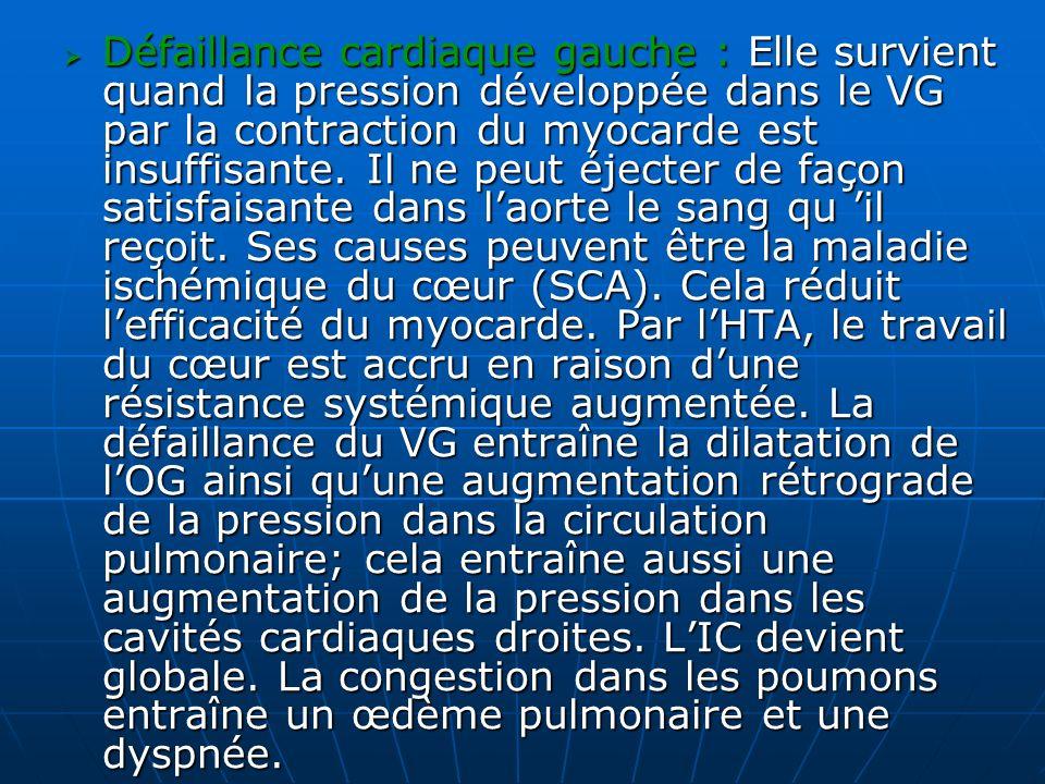 Défaillance cardiaque gauche : Elle survient quand la pression développée dans le VG par la contraction du myocarde est insuffisante.
