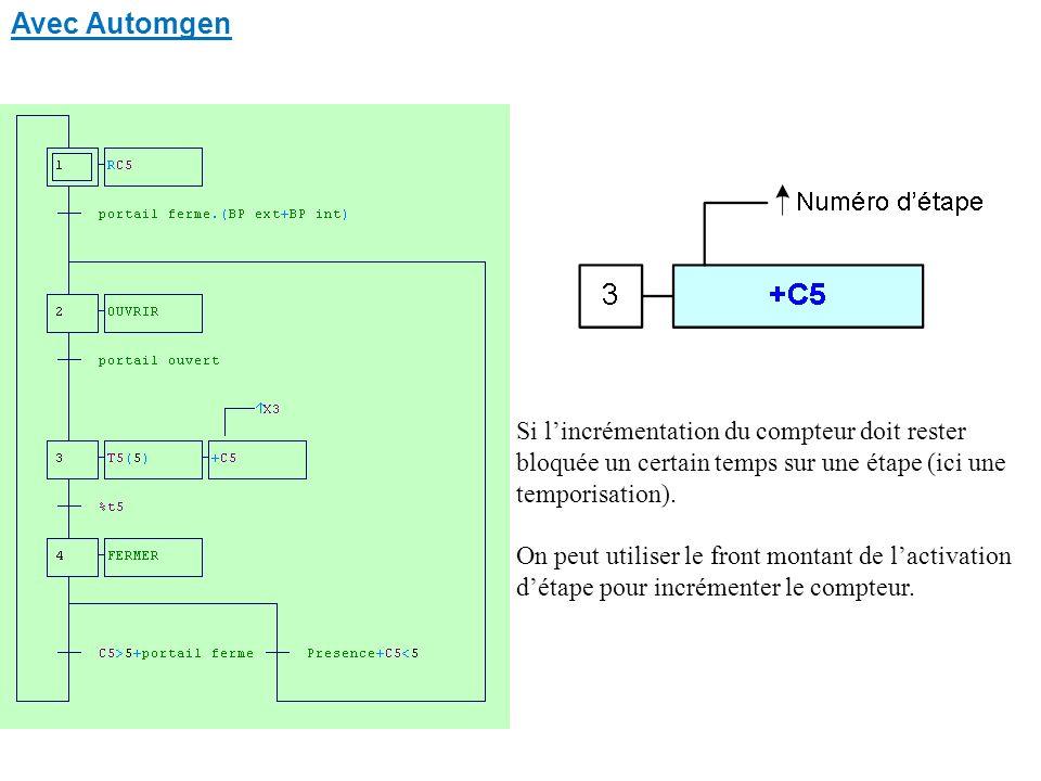 Avec Automgen Si l'incrémentation du compteur doit rester bloquée un certain temps sur une étape (ici une temporisation).