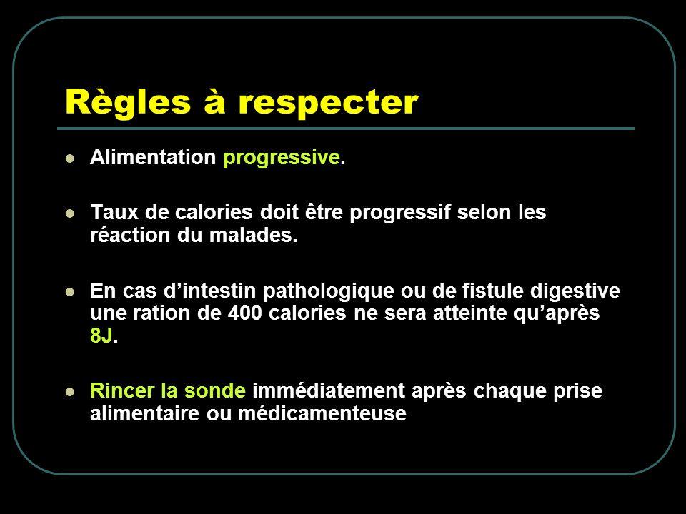 Règles à respecter Alimentation progressive.