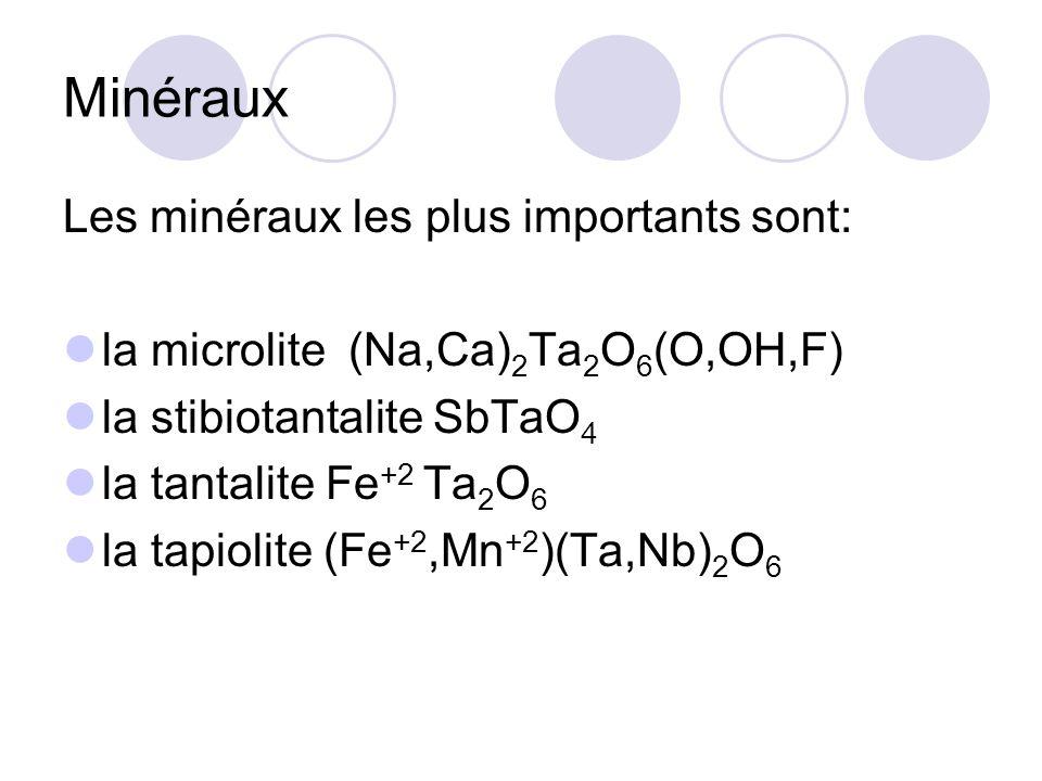 Minéraux Les minéraux les plus importants sont: