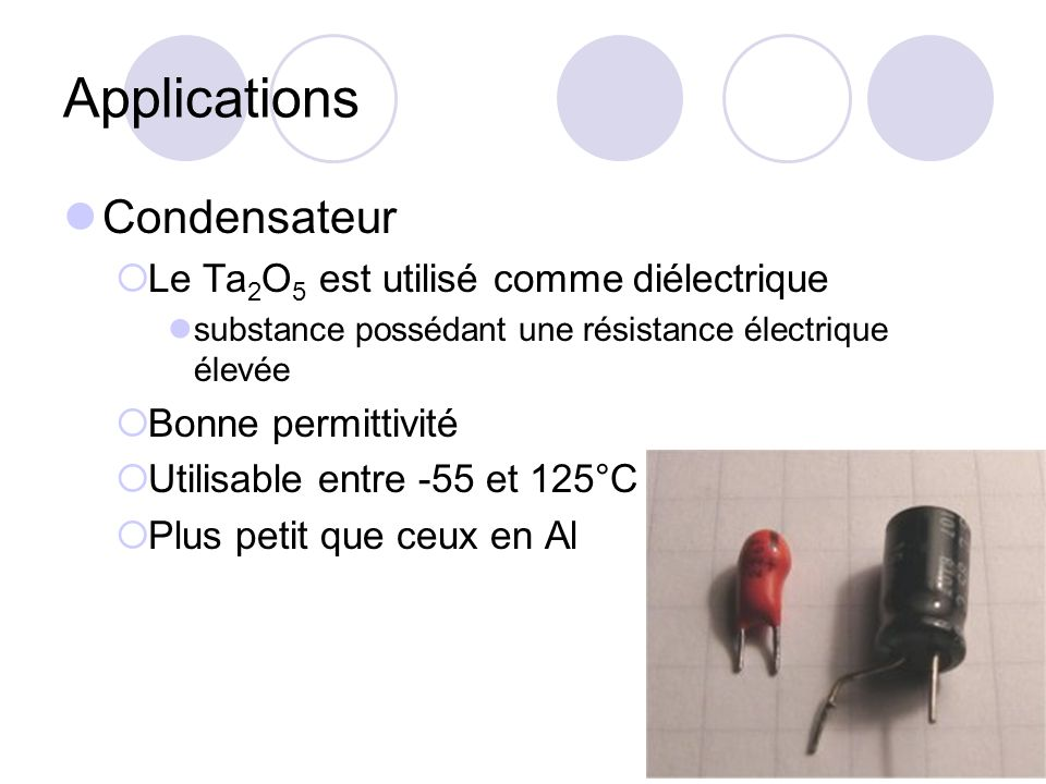 Applications Condensateur Le Ta2O5 est utilisé comme diélectrique