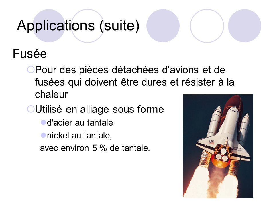 Applications (suite) Fusée