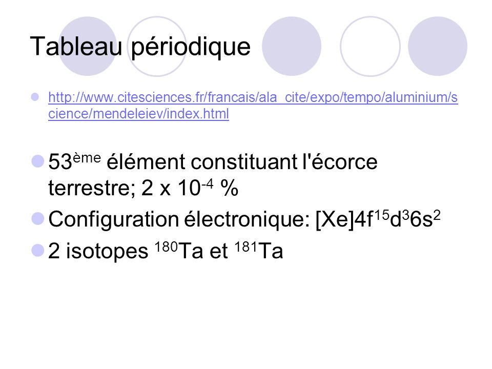 Tableau périodiquehttp://www.citesciences.fr/francais/ala_cite/expo/tempo/aluminium/science/mendeleiev/index.html.