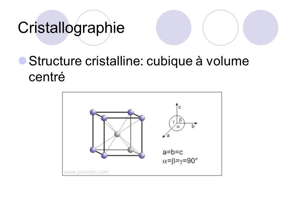 Cristallographie Structure cristalline: cubique à volume centré