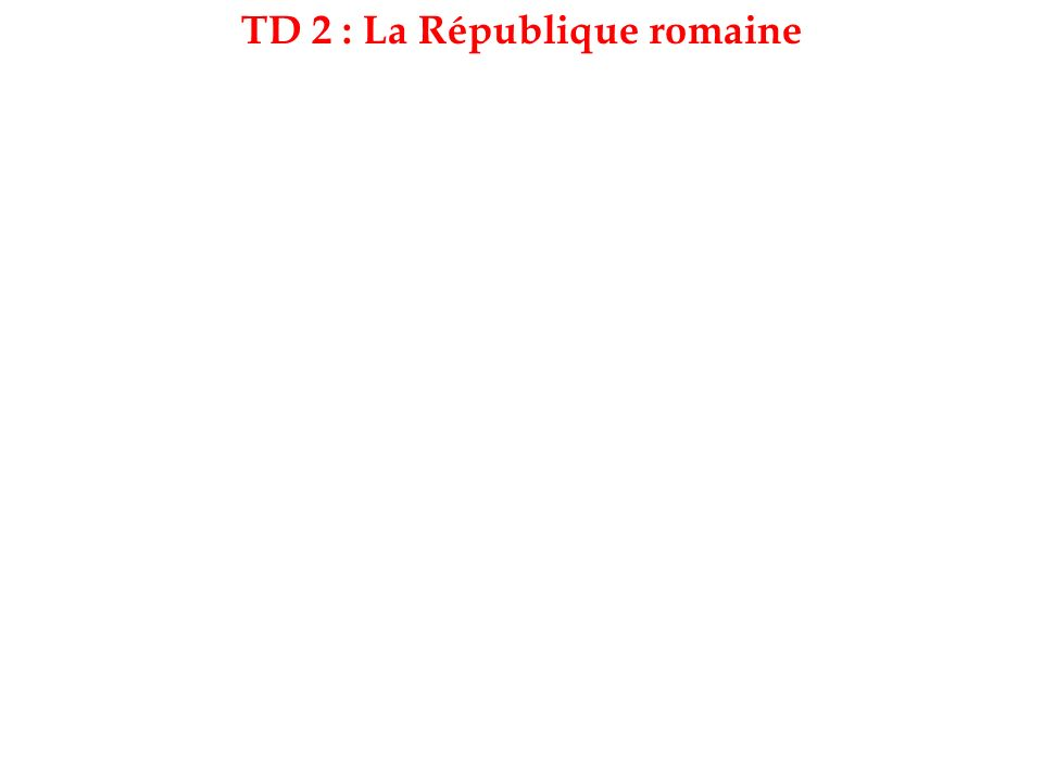 TD 2 : La République romaine