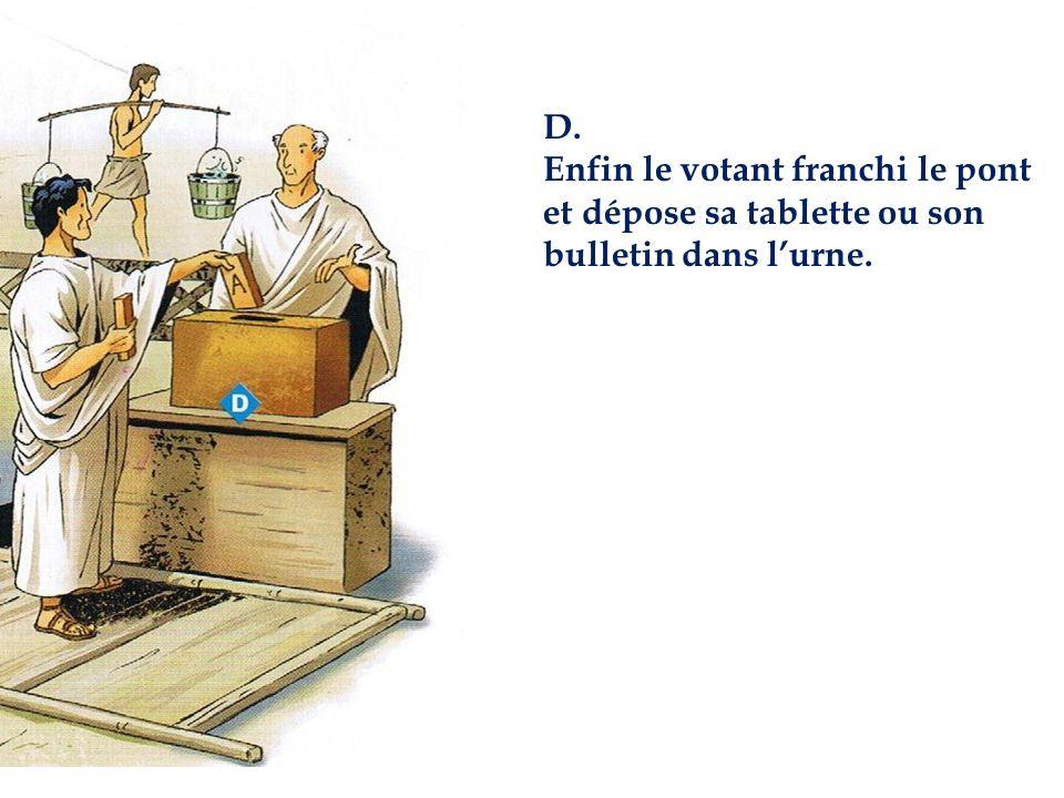 D. Enfin le votant franchi le pont et dépose sa tablette ou son bulletin dans l'urne.