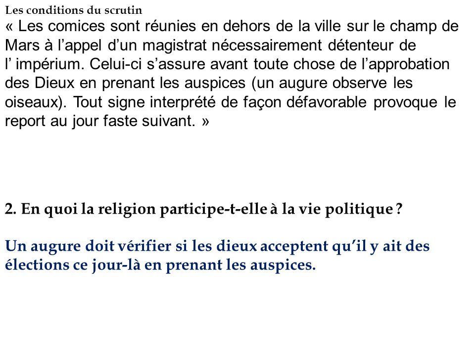 2. En quoi la religion participe-t-elle à la vie politique