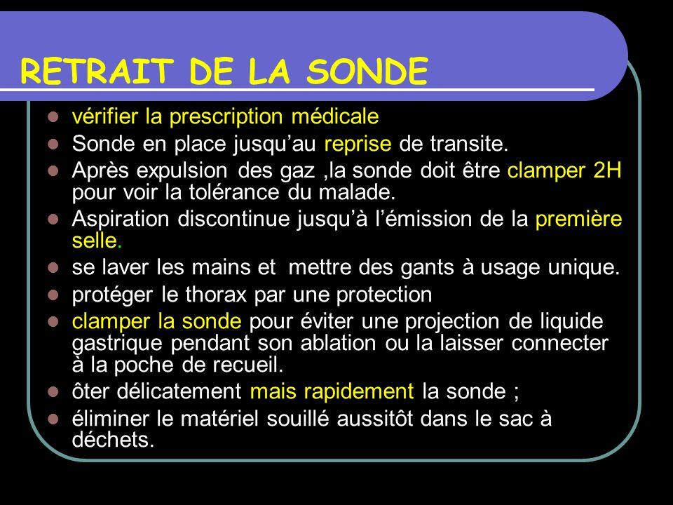 RETRAIT DE LA SONDE vérifier la prescription médicale