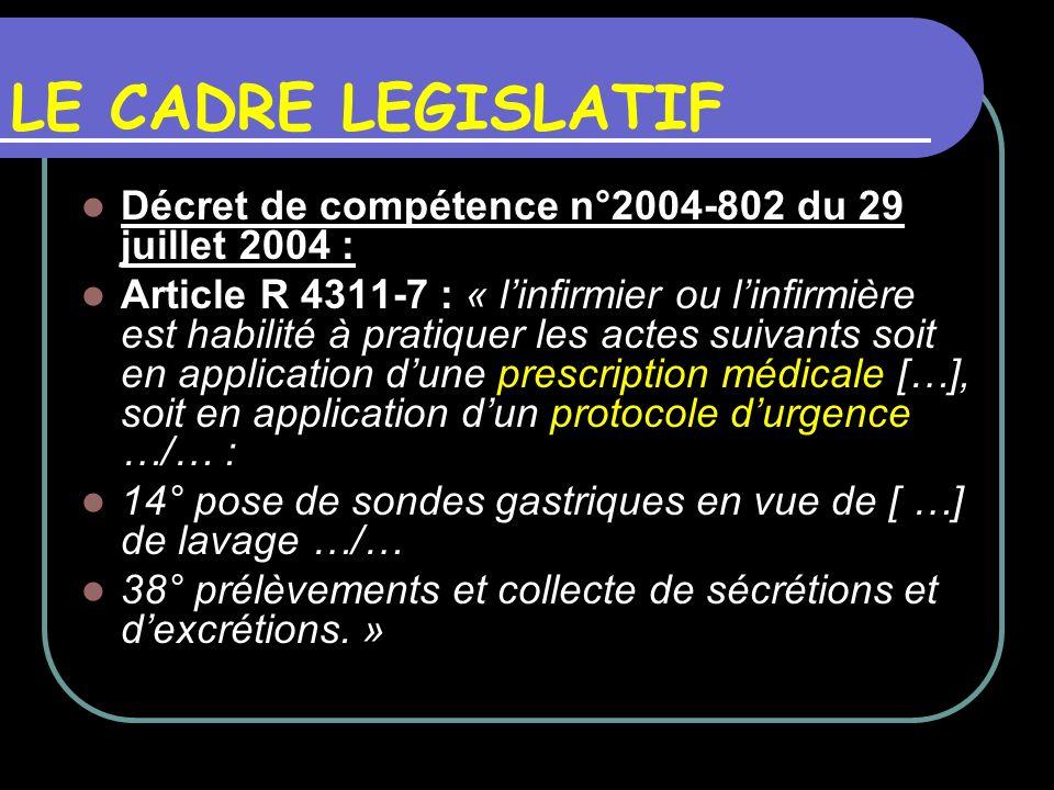 LE CADRE LEGISLATIF Décret de compétence n°2004-802 du 29 juillet 2004 :