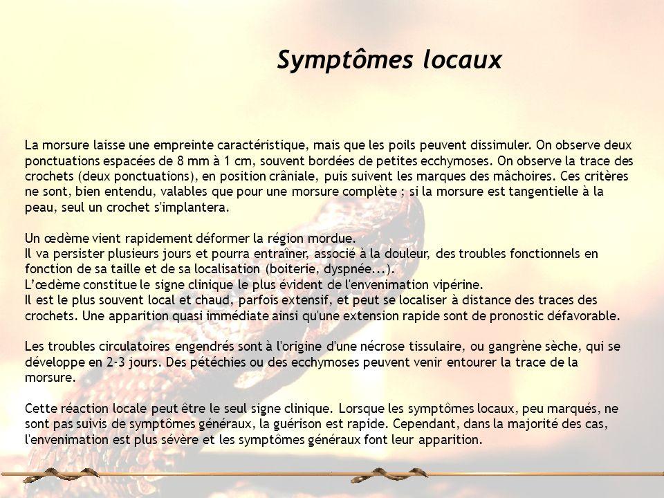 Symptômes locaux