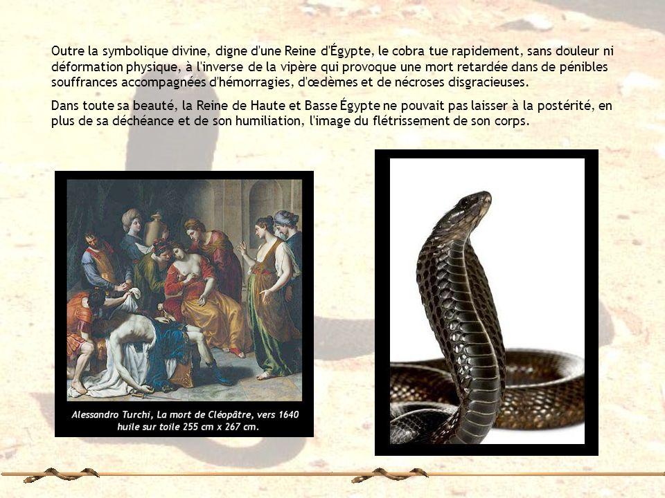Outre la symbolique divine, digne d une Reine d Égypte, le cobra tue rapidement, sans douleur ni déformation physique, à l inverse de la vipère qui provoque une mort retardée dans de pénibles souffrances accompagnées d hémorragies, d œdèmes et de nécroses disgracieuses.