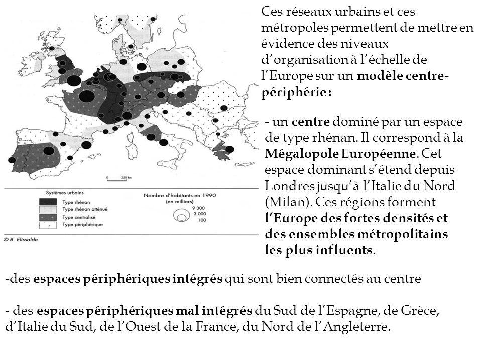 Ces réseaux urbains et ces métropoles permettent de mettre en évidence des niveaux d'organisation à l'échelle de l'Europe sur un modèle centre-périphérie :