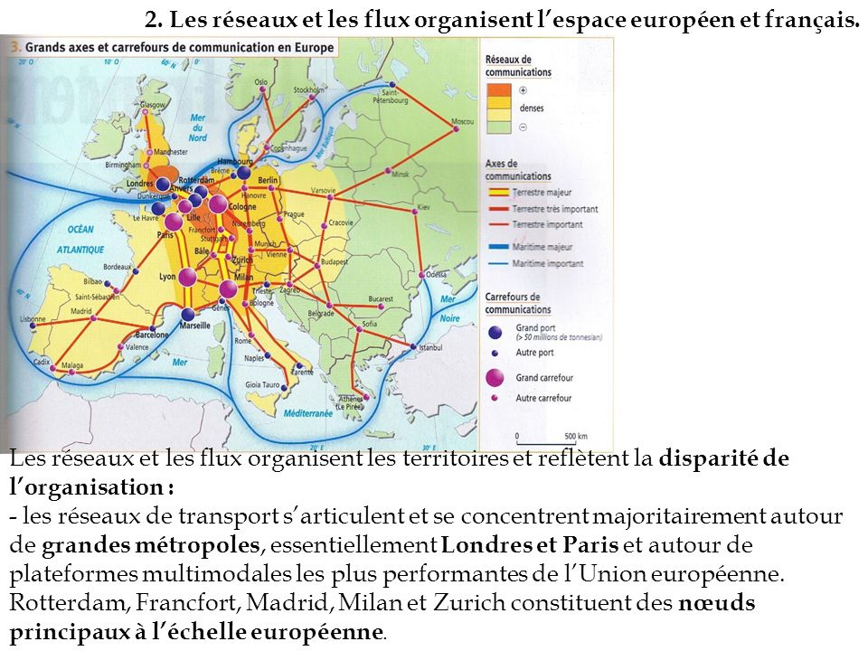 2. Les réseaux et les flux organisent l'espace européen et français.
