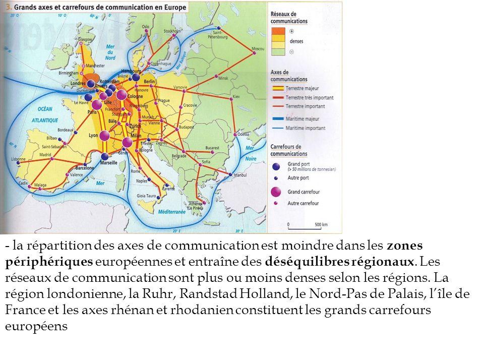 - la répartition des axes de communication est moindre dans les zones périphériques européennes et entraîne des déséquilibres régionaux.