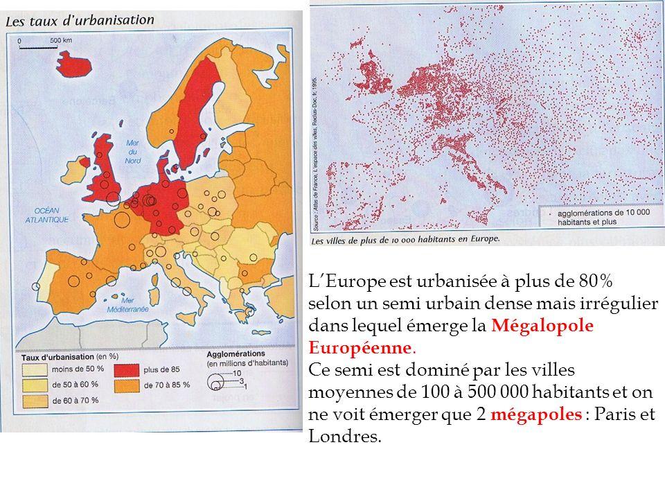 L'Europe est urbanisée à plus de 80% selon un semi urbain dense mais irrégulier dans lequel émerge la Mégalopole Européenne.