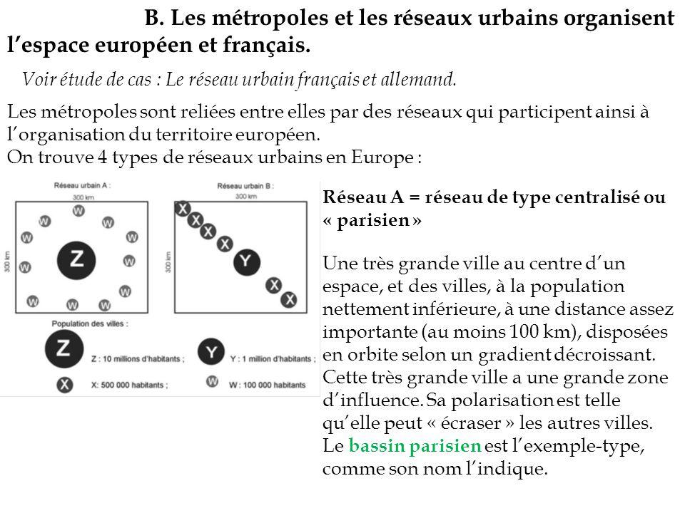 B. Les métropoles et les réseaux urbains organisent l'espace européen et français.