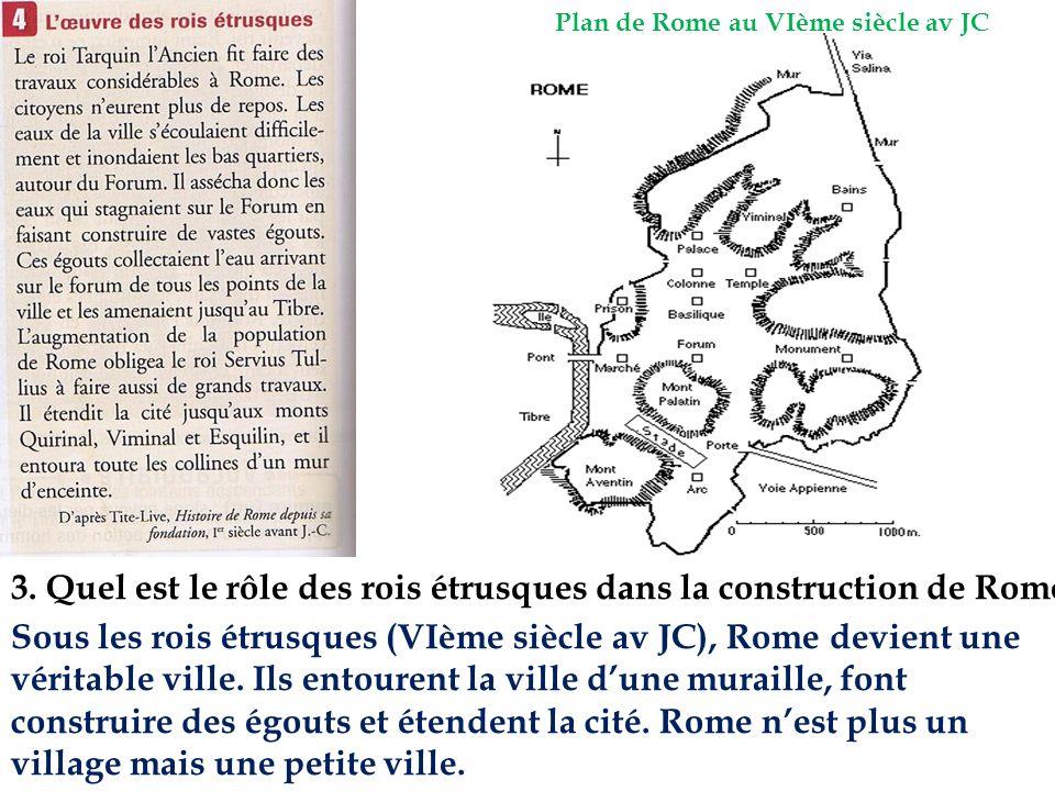 3. Quel est le rôle des rois étrusques dans la construction de Rome