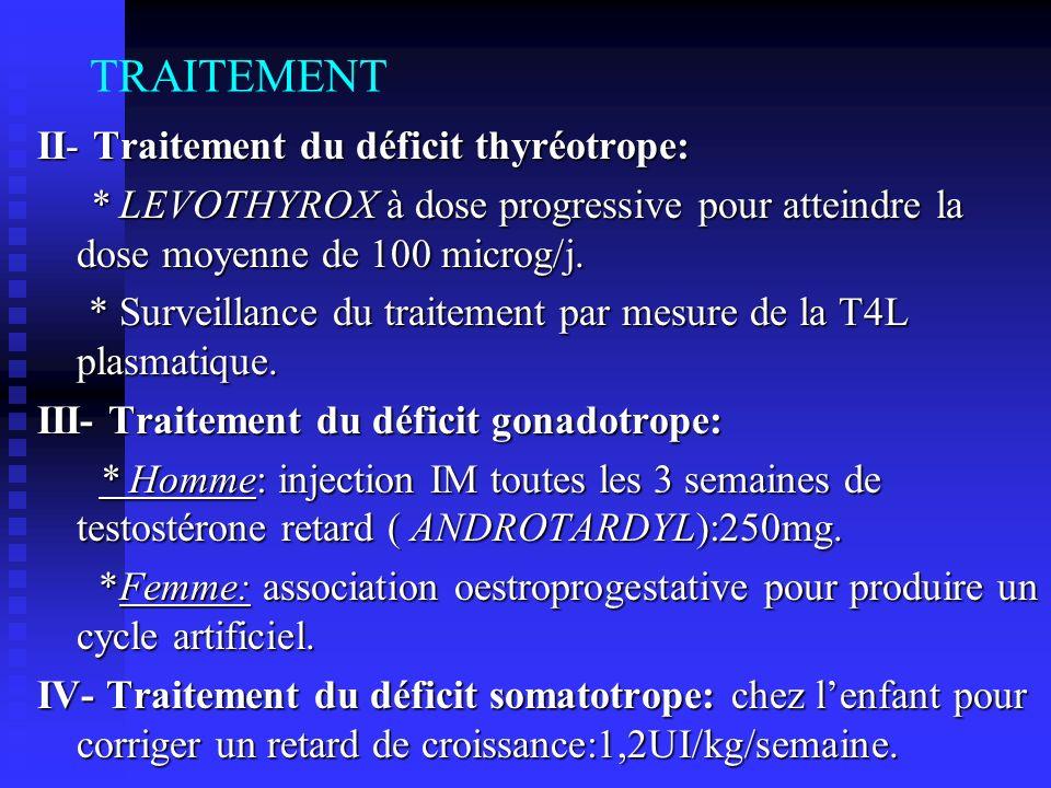TRAITEMENT II- Traitement du déficit thyréotrope: