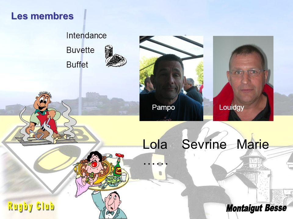 Lola Sevrine Marie …… Les membres Intendance Buvette Buffet Louidgy