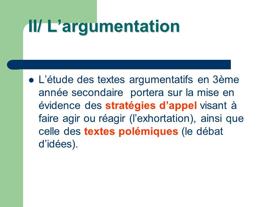 II/ L'argumentation